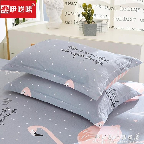 吚囈喏全棉枕套一對裝純棉印花枕頭套單人學生宿舍枕芯套48x74cm 科炫數位