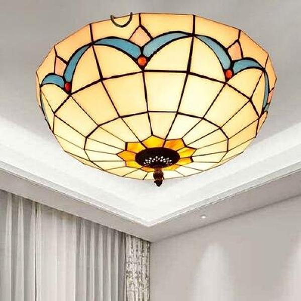 吸頂燈 歐式地中海臥室陽台田園琉璃吸頂燈 40公分玉蘭花 蒂凡尼彩色玻璃燈