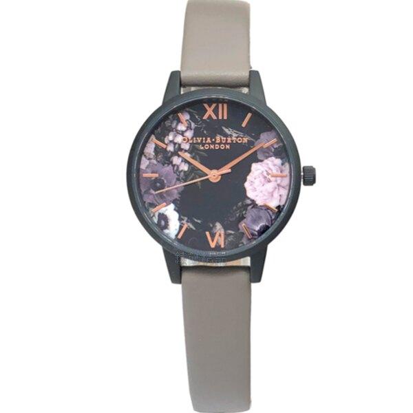 OLIVIA BURTON 手錶 OB16AD24 夜風花香 灰色皮錶帶 女錶【錶飾精品】
