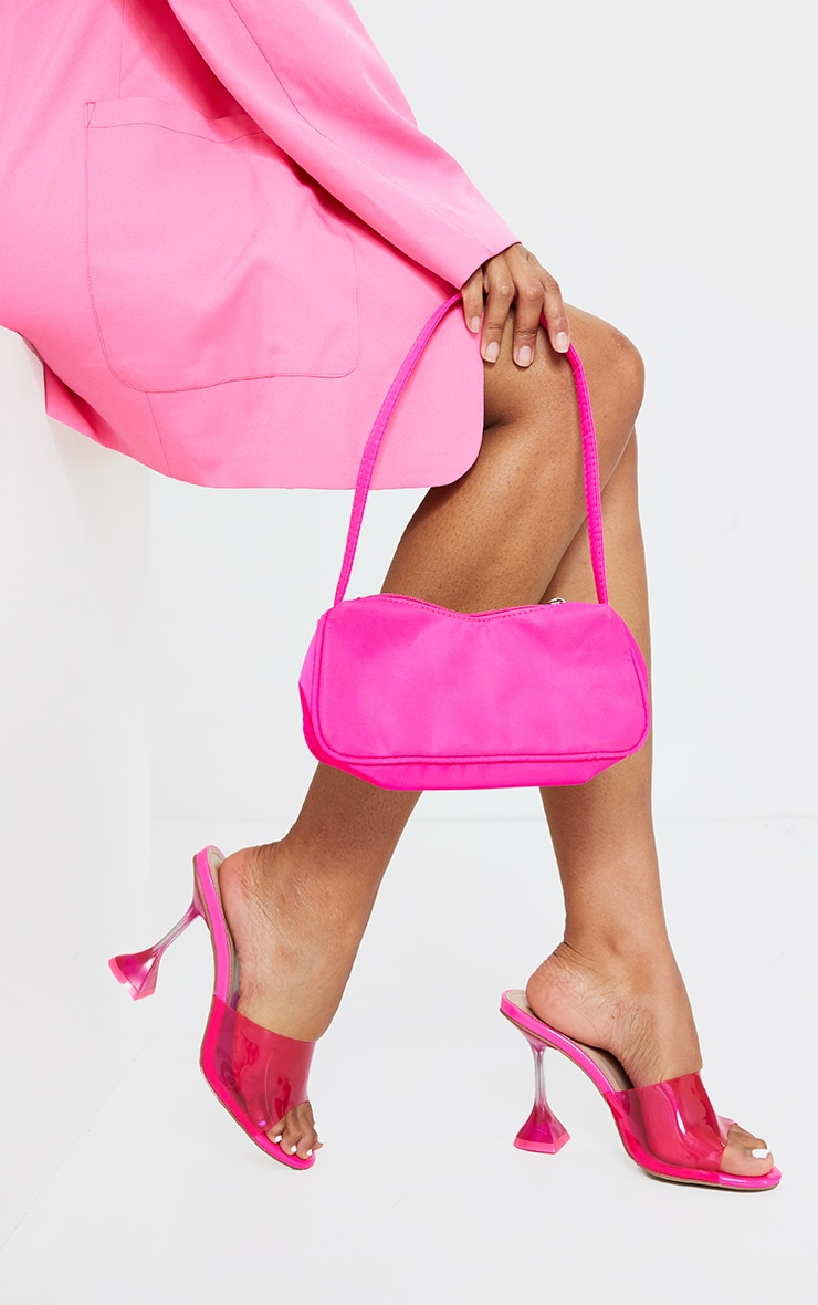 Neon Pink Wide Fit Cake Stand Clear Mule Heels