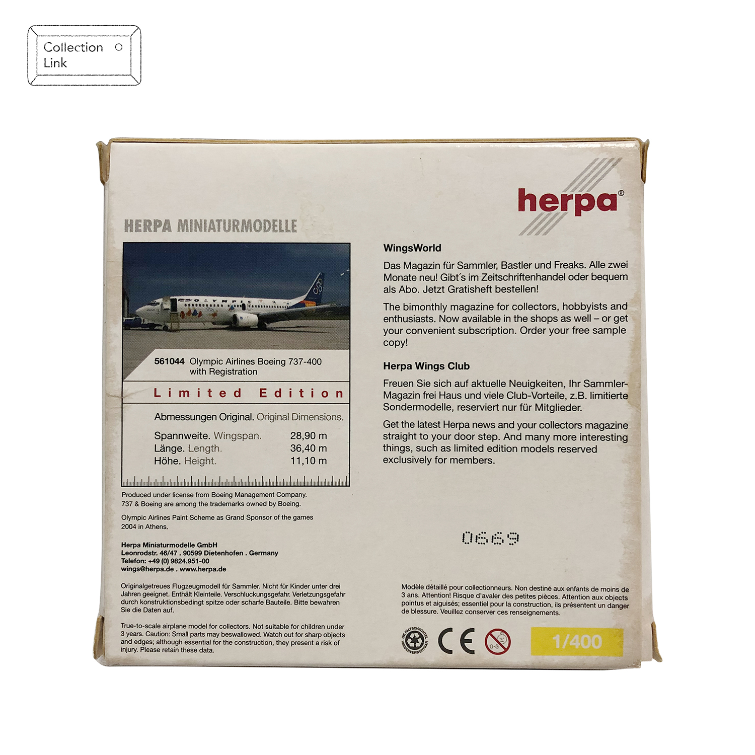 Herpa 1:400 Olympic Airlines Boeing 737-400 #561044 飛機模型【Tonbook蜻蜓書店】