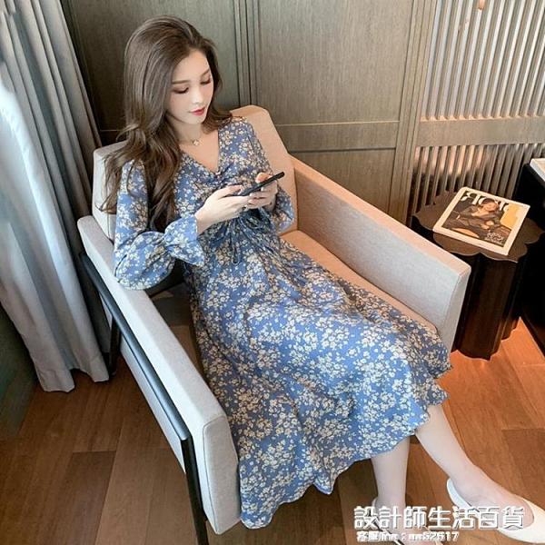 2020秋季新款韓版喇叭袖中長款V領收腰顯瘦氣質碎花雪紡洋裝女 設計師生活