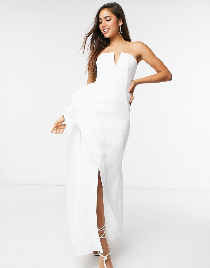 ASOS DESIGN Premium bandeau panelled maxi dress with side pep in white