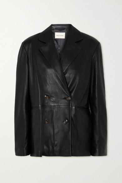 LOULOU STUDIO - 双排扣皮革西装外套 - 黑色 - medium
