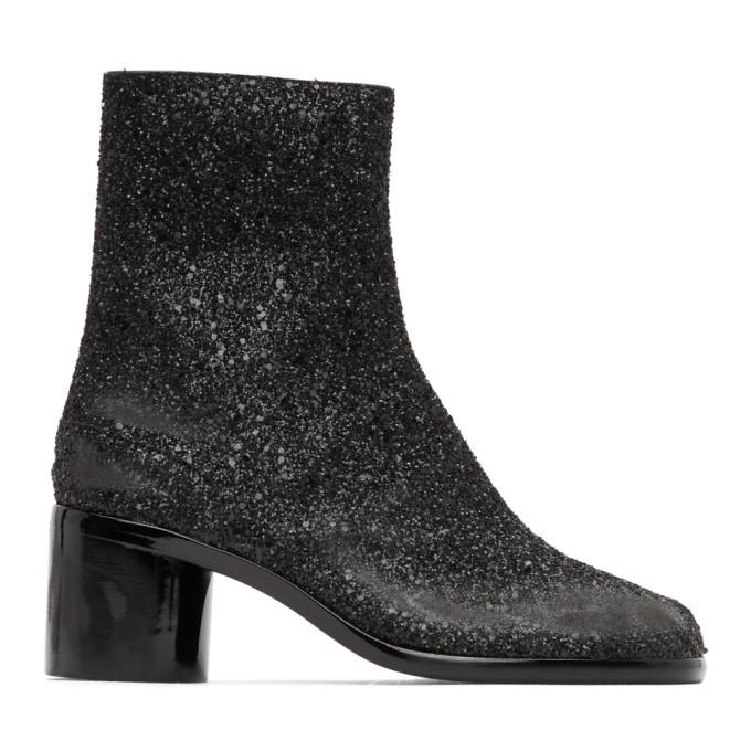 Maison Margiela 黑色 Tabi 闪粉中跟踝靴