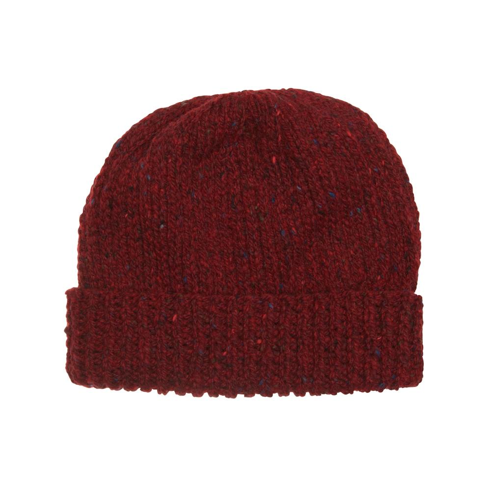 Magee 1866 Burgundy Donegal fleck Handknit Beanie Hat