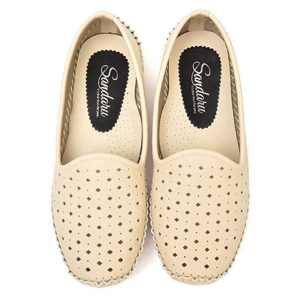 柔軟洞洞懶人豆豆鞋-米