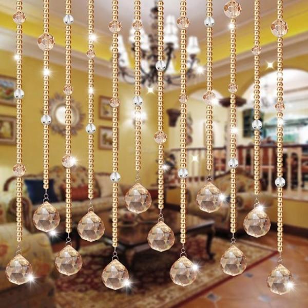 水晶珠簾玄關隔斷簾客廳裝飾