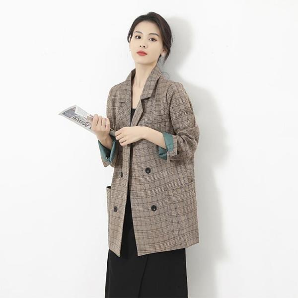西裝外套 格子西裝外套女韓版寬松2020春秋新款學生復古網紅小西服韓國上衣