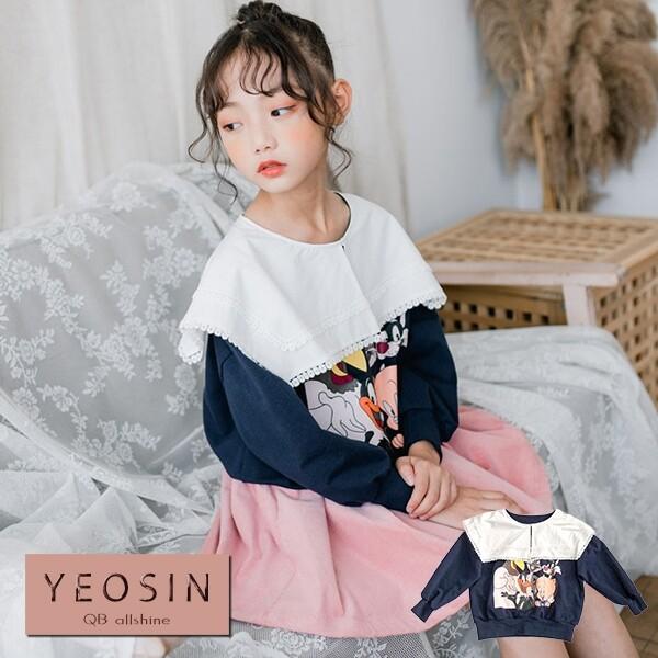 女童上衣 蕾絲緹花披肩卡通長袖t 韓國外貿中大童 qb allshine 19612483