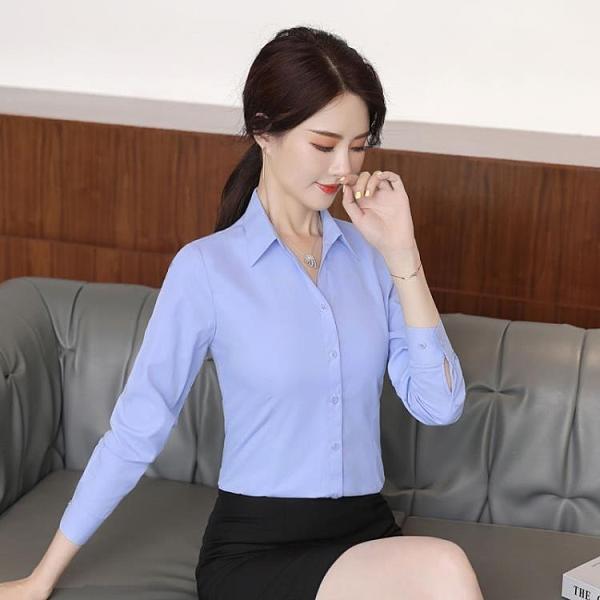 長袖襯衫 藍色女職業V領上衣襯衣修身韓版工作服時尚氣質秋季工裝 - 古梵希