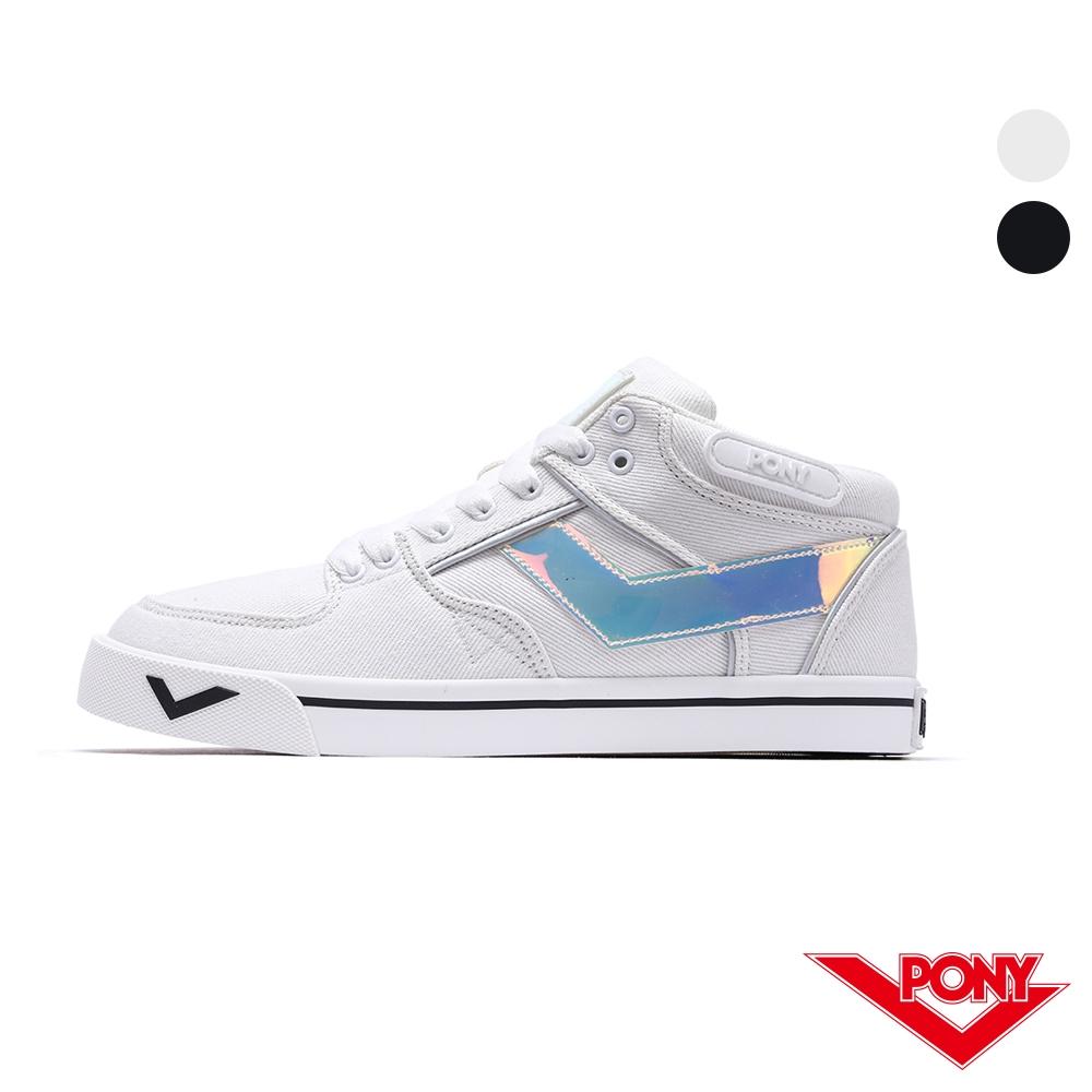 PONY A TOP 系列-復古滑板鞋運動鞋款-男女-黑白