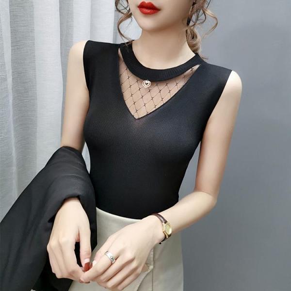網紗T恤 吊帶背心女春夏新款內搭冰絲針織黑白色小心機打底衫無袖上衣外穿