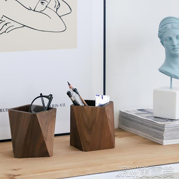 北歐木質筆筒桌面實木筆盒學生筆插辦公室大容量創意多功能筆座 快速出貨