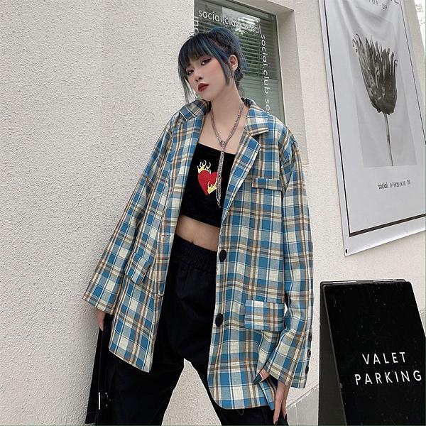 潮流女生外套 格子複古簡約女外套韓版外套 秋季皮夾克外套 時尚百搭女生外套 休閑寬鬆女士外套