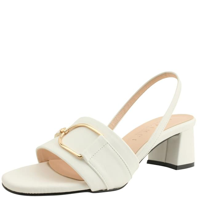 韓國空運 - Metal Buckle Strap Middle Heel Sandals White 涼鞋