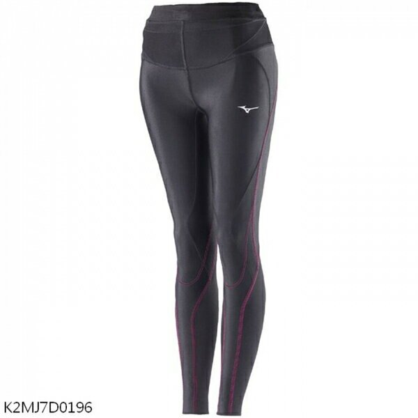 Mizuno BG5000II [K2MJ7D0196] 女 緊身褲 全長 運動 慢跑 吸汗 快乾 美津濃 黑粉