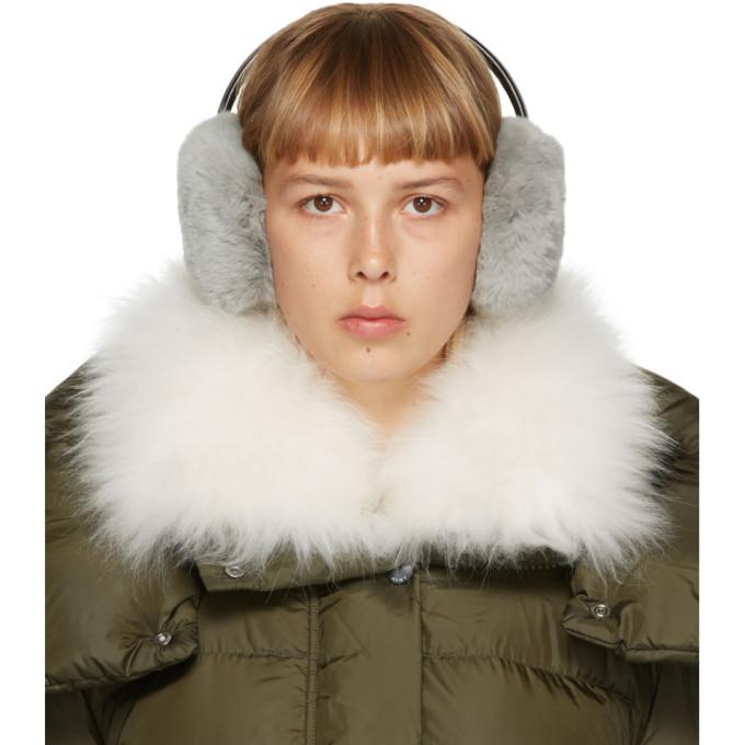 Yves Salomon 灰色獭兔毛耳罩