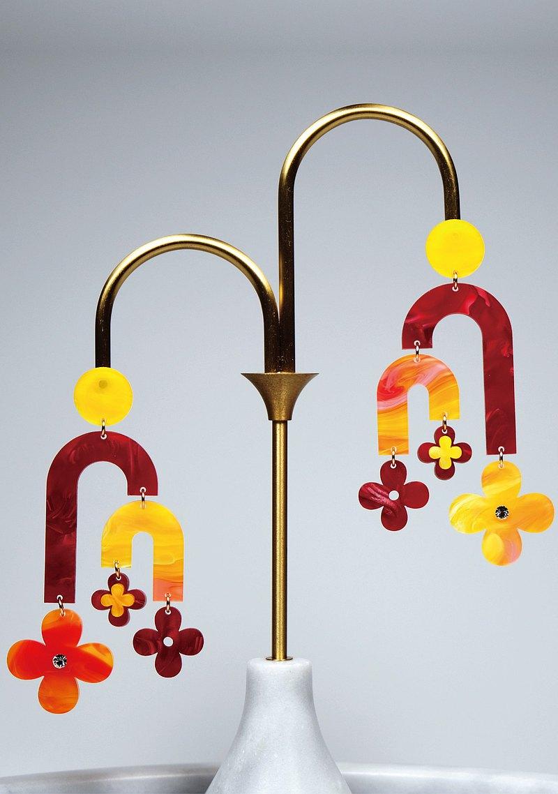 Golden Flow 手作飾品 壓克力系列 耳環/耳夾 NO.021 平衡遊戲