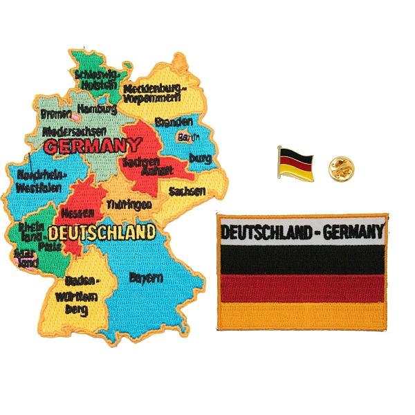 青年帽子布標貼 三件組德國地圖刺繡+德國國旗刺繡+徽章 立體繡片貼 熨燙徽章布貼