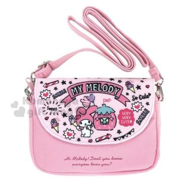 〔小禮堂〕美樂蒂 棉質扣式觸控斜背手機包《粉.草莓》斜背包.手拿包