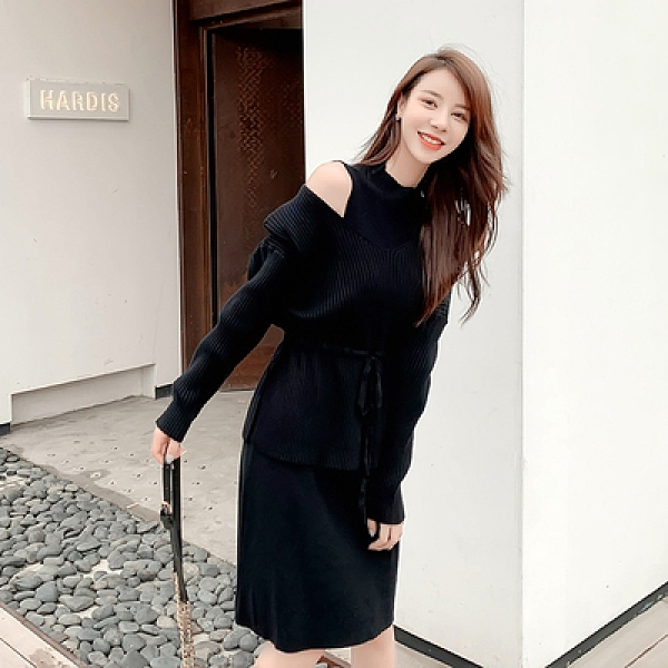 洋裝連身裙大碼S-4XL秋冬女神氣質針織時尚套裝洋氣針織毛衣 背心裙兩件套F019A依佳衣