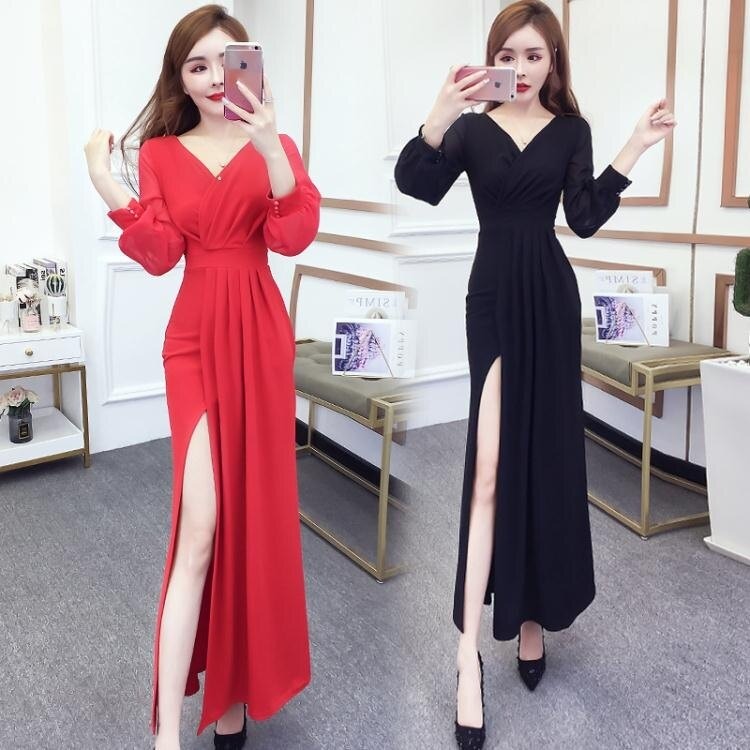 晚禮服 晚禮服裙女2020新款黑色長款連身裙名媛宴會年會高貴氣質平時可穿 清涼一夏钜惠