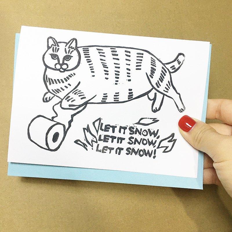 聖誕賀卡聖誕老人貓米姆圖案讓它雪貓廁紙卡