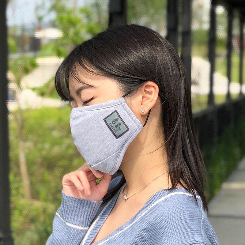 抗菌除臭立體純棉口罩-淺灰白