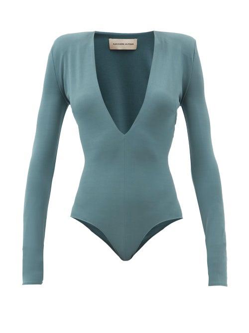 Alexandre Vauthier - Plunge-neck Stretch-jersey Bodysuit - Womens - Blue