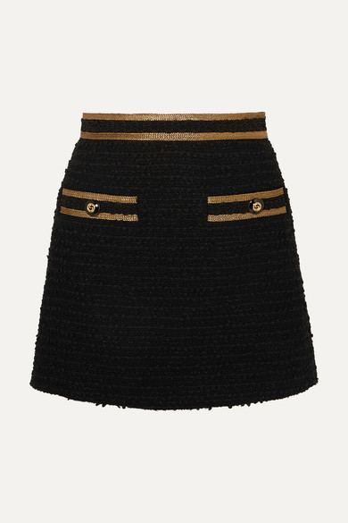 Gucci - 金属感边饰棉质混纺花呢迷你半身裙 - 黑色 - IT42