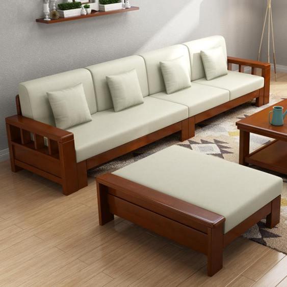 沙發 禧樂菲中式實木沙發組合轉角可拆洗布藝沙發大小戶型客廳整裝家具