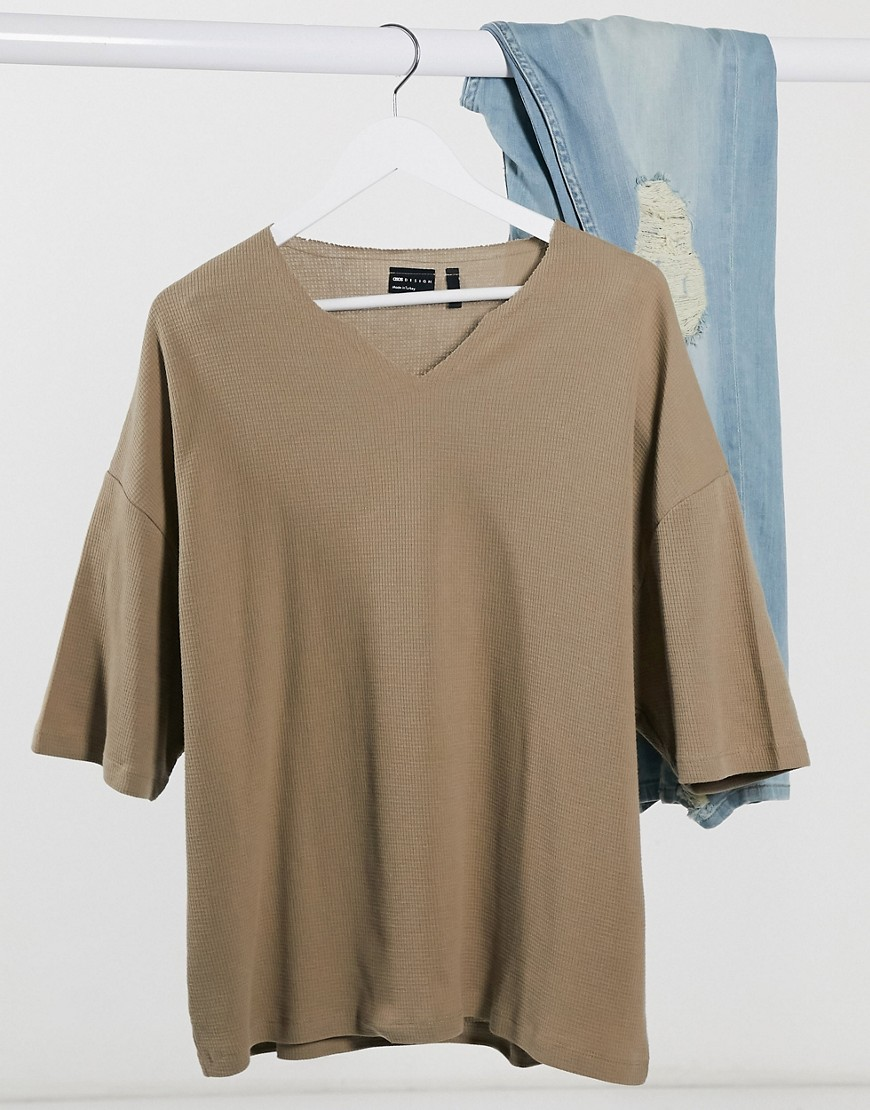 ASOS DESIGN oversized waffle notch neck t-shirt in brown-Beige