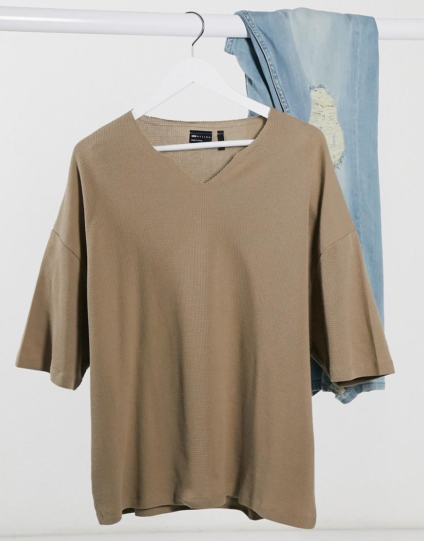 ASOS DESIGN oversized waffle notch neck t-shirt in brown-Beige