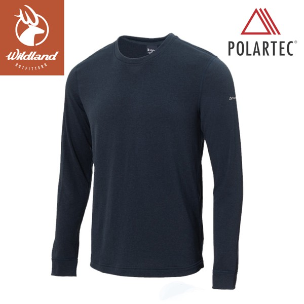 【Wildland 荒野 男 P/G體表舒適調節機能衣《深藍》】P2662/中層衣/衛生衣/排汗衣/保暖/悠遊山水