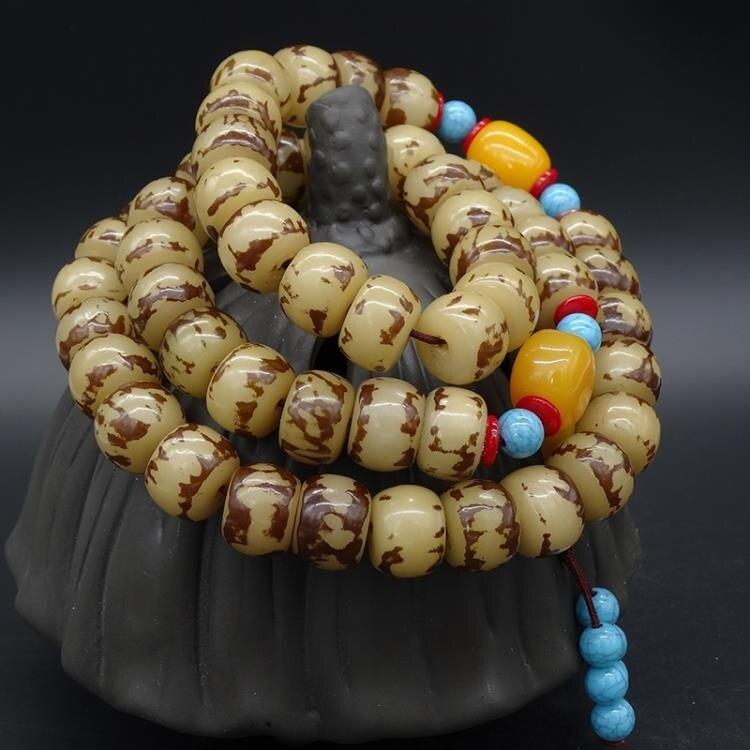 小花根菩提子桶珠手串手?佛珠菩提根原籽仿蜜蠟隔珠文玩提珠念珠