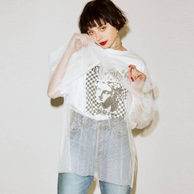 jouetie - 罩紗長袖圖案T恤