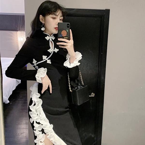 旗袍洋裝 御姐連衣裙氣質輕熟風2020年秋裝新款年輕款改良版少女中國風旗袍 店慶降價