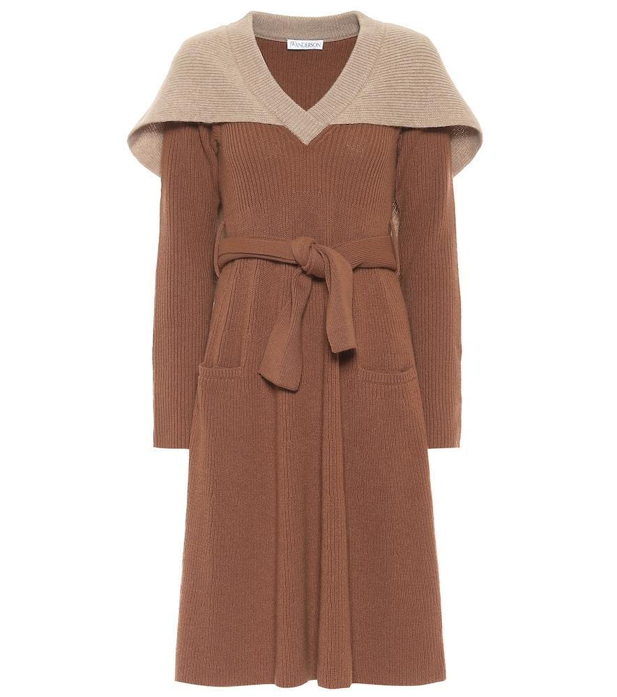 Caped wool midi dress