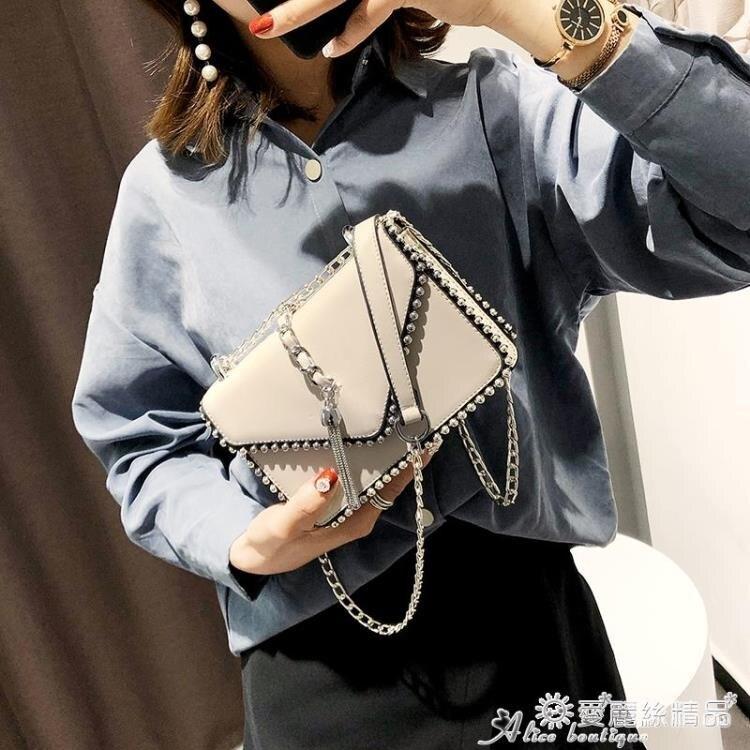 柳釘包 網紅洋氣女小包包2020新款潮鉚釘韓版錬條時尚百搭側背斜背小方包