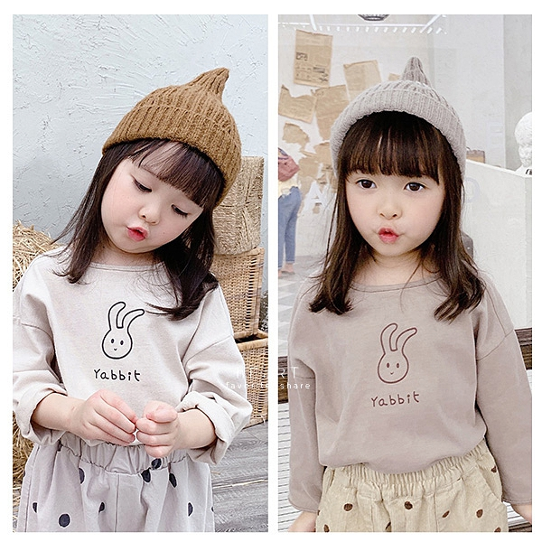 彎彎耳朵微笑兔子圖案長袖上衣 童裝 T-shirt