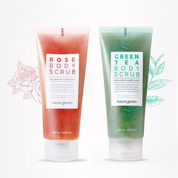 韓國 Nature Garden 綠茶淨化/玫瑰亮白 身體去角質凝膠 200ml 款式可選 去角質霜【PQ 美妝】