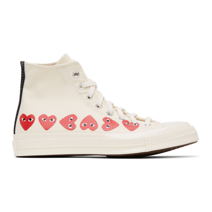 Comme des Garcons Play 灰白色 Converse 联名 Chuck 70 Multiple Hearts 高帮运动鞋