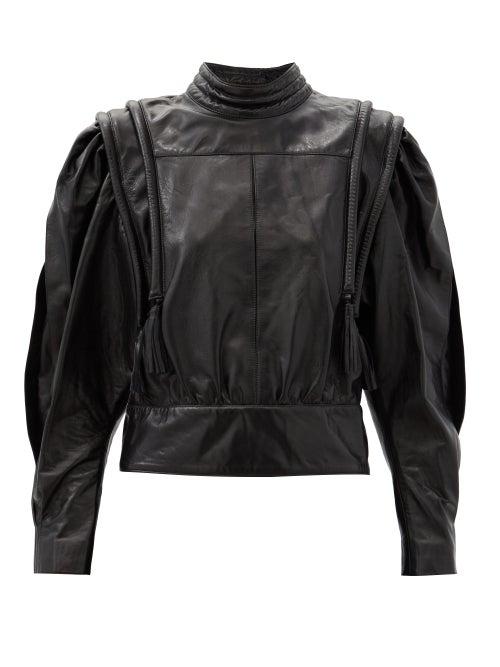Isabel Marant - Lars Balloon-sleeve Leather Blouse - Womens - Black