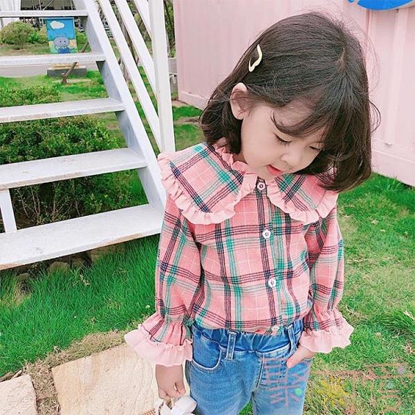 純棉時尚兒童韓版寶寶襯衣女童格子襯衫長袖上衣【聚可愛】