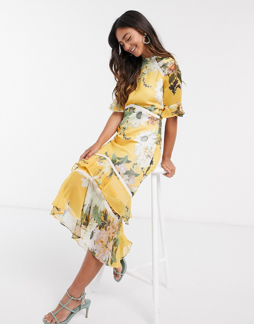 Hope & Ivy open back midaxi dress with ruffle hem in yellow based floral print-Blue