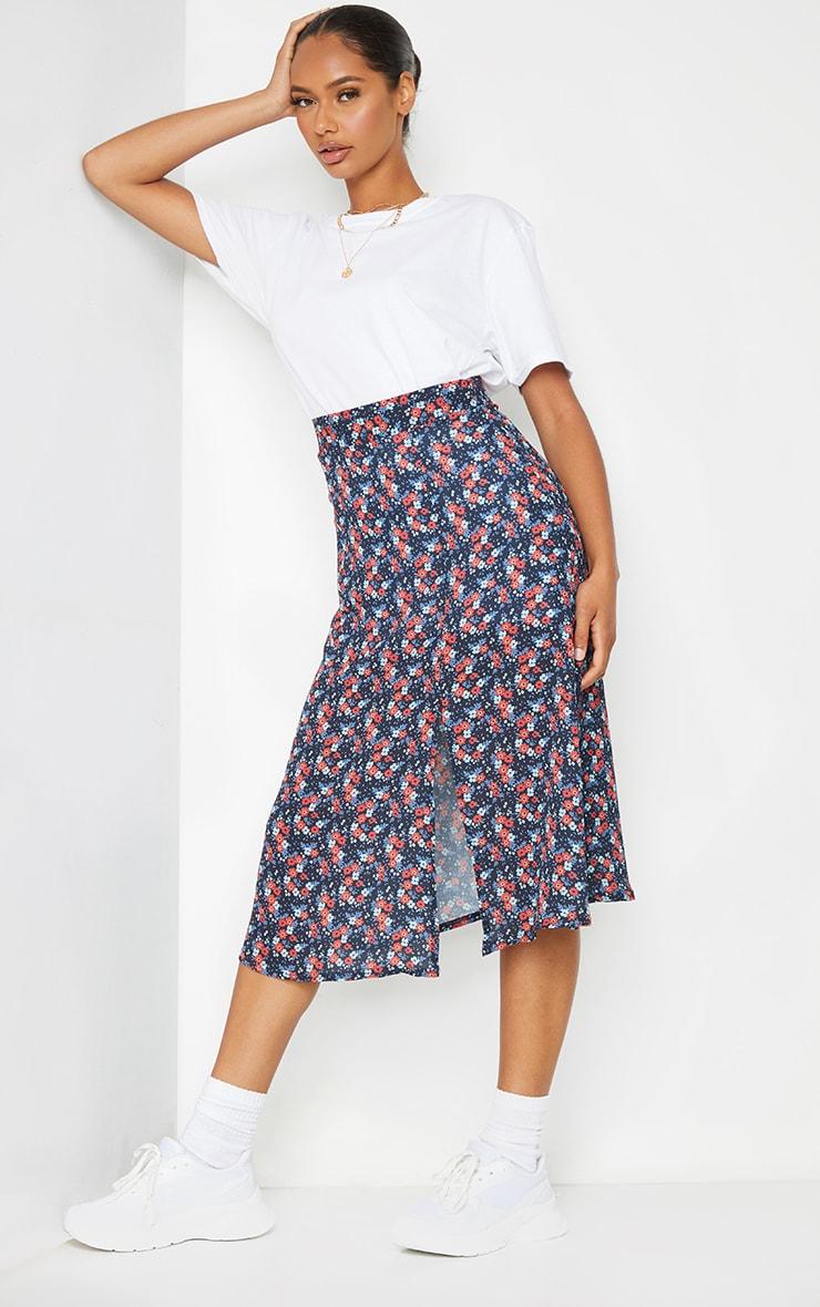 Black Floral Floaty Midi Skirt