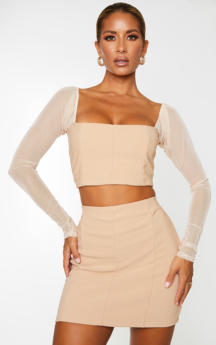 Stone Bandage Mesh Long Sleeve Crop Top