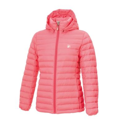 【WILDLAND荒野】女收納枕拆帽極暖鵝絨外套蜜粉紅