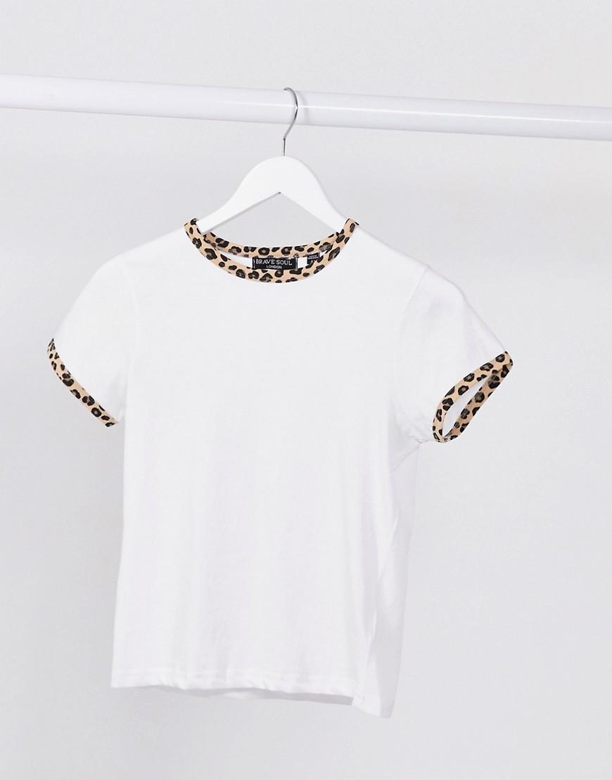 Brave Soul claudine leopard ringer t-shirt-White